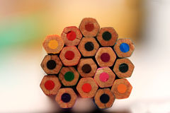 Many colored wooden pencils Stock Photo