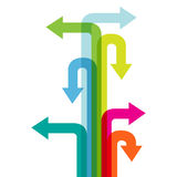 Many colorful arrow direction. Stock Photos