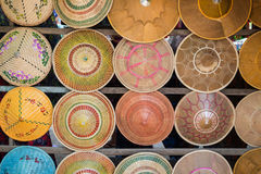 Many colorful Asian conical hats royalty free stock images