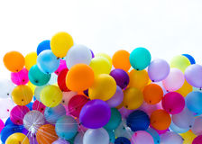 Many colorful balloons. For the party background Stock Photography
