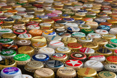 Many colorful beer caps Royalty Free Stock Images
