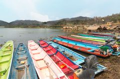 Many colorful of Boats on reservoir in Thailand Royalty Free Stock Photo