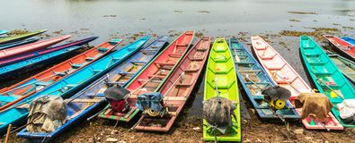 Many colorful of Boats on reservoir in Thailand Royalty Free Stock Photography