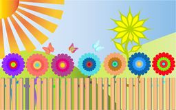 Many colorful, bright, motley flowers grow behind a wooden. Fence and around them fly 3 multicolored butterflies. A large tree-flower on a green hill. The sun stock illustration