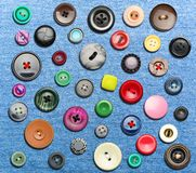 Many colorful buttons. On blue background Stock Photos