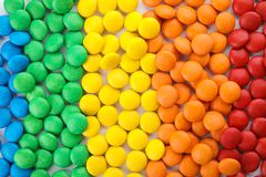 Many colorful candies as background. Top view royalty free stock photos