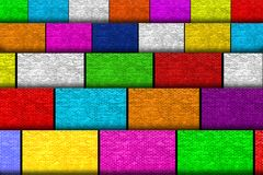 Many colorful cardboards with brick wall texture royalty free stock images