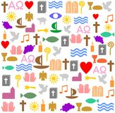 Many christian symbols in an square frame. Many colorful christian symbols in an square frame. It an be used as an background Royalty Free Stock Photos