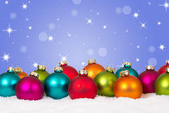 Many colorful Christmas balls background decoration with copyspa Stock Photo