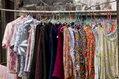 Colorful patterned clothes were hung outdoors. Mainly from the wash. royalty free stock photo