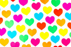 Many colorful cut paper hearts isolated on white background Royalty Free Stock Photography