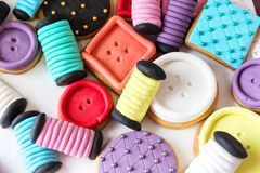Many colorful decorated cookies Stock Photo