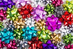 Many colorful different bows. Background, flat lay, overhead view Royalty Free Stock Photography