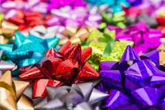 Colorful different bows with selective focus. Many colorful different bows with selective focus, closeup Stock Photos