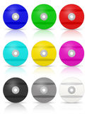 Many Colorful DVD`s. RGB and CMYK DVD. Multimedia disks.  Isolated on white Royalty Free Stock Images