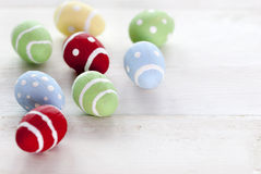 Many Colorful Easter Eggs With Copy Space royalty free stock images