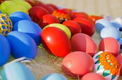 Many colorful Easter eggs on the crowd Stock Image