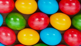 Many colorful easter eggs on the table stock video footage