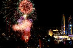 Many Colorful Explosion of Fireworks fly night sky stock image