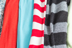 Many Colorful Fabric Cloth Textures With Patterns Stock Image