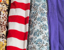 Many Colorful Fabric Cloth Textures With Patterns Stock Photo
