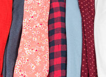 Many Colorful Fabric Cloth Textures With Patterns Royalty Free Stock Photography