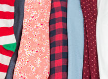 Many Colorful Fabric Cloth Textures With Patterns Stock Photos