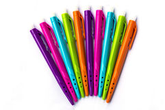 Many colorful felt tip pens isolated. On white royalty free stock photos