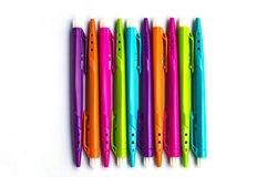 Many colorful felt tip pens isolated. On white Stock Photo