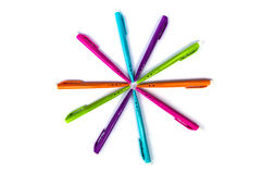 Many colorful felt tip pens isolated. On white Royalty Free Stock Photography