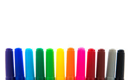 Many colorful felt tip pens Royalty Free Stock Photos