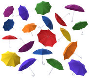 Many colorful flying umbrellas Royalty Free Stock Photography