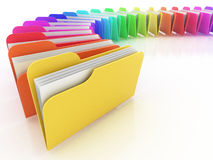 Many colorful folders. On the white background Royalty Free Stock Images