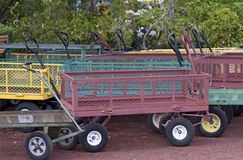Many Colorful Garden Wagons Stock Photography