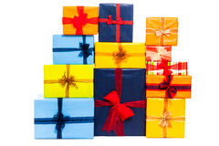 Many colorful gift boxes. Colorful gift boxes with ribbon, isolated on white background Royalty Free Stock Images