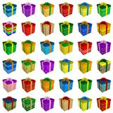 Many colorful gift boxes collection with ribbon Stock Images