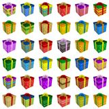 Many colorful gift boxes collection with ribbon Royalty Free Stock Photos