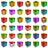 Many Colorful Gift Boxes Collection With Ribbon Royalty Free Stock Image