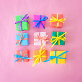 Many colorful gift boxes Stock Photography