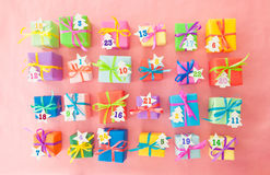 Many colorful gift boxes Stock Photos