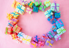 Many colorful gift boxes Stock Photo