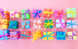 Many colorful gift boxes Stock Images