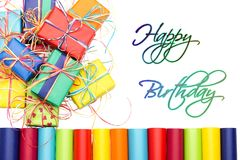 Happy Birthday and presents. Many colorful gifts with the inscription Happy Birthday royalty free stock photos