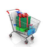 Many colorful gifts that lie in your shopping cart Royalty Free Stock Photo