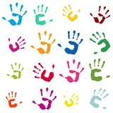 Colorful hand imprints as a symbol for community royalty free stock image