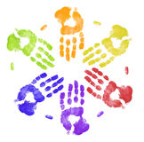 Many colorful hand prints. Bright colored hand prints working together Royalty Free Stock Images