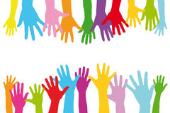 Many colorful hands of a group as a team Stock Images