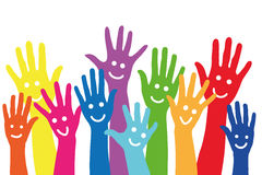 Many colorful hands with smileys. Background with many different colorful hands with smileys on it Royalty Free Stock Photography