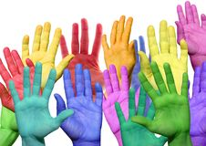 Many colorful hands. Waving and symbolicind diversity royalty free stock photos