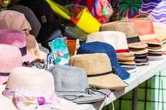 Colorful Hats in a Market Stock Photos